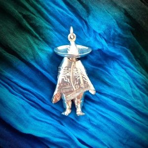 Jewelry - Vintage Mexican Man Sterling Silver Brooch/Pendant